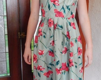 Green floral 1950's inspired dress