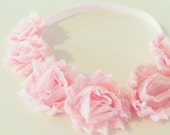 Blush Pink Flower Crown Headband // Light Pink Flower Crown Wreath Headband for Baby Toddler Girls + Adults, Blush Pink Flower Girl Headband