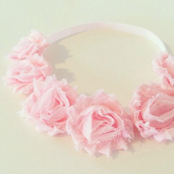 Blush Pink Flower Crown | Light Pink Flower Crown Headband for Baby Toddler Girls Adults, Birthday Flower Crown Blush Pink Flower Girl Crown