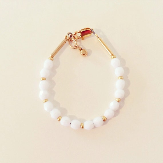 White + Gold Stacking Bracelet | White + Gold Beaded Stacking Bracelet for Baby Toddlers Girls Adults, Gold + White Mommy and Me Bracelets