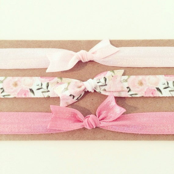 Rose Floral Knot Bow Headband Set | Pink Floral Elastic Knot Bow Headbands for Baby Toddler Girls, Baby Shower Gift, Newborn Baby Girl Gift