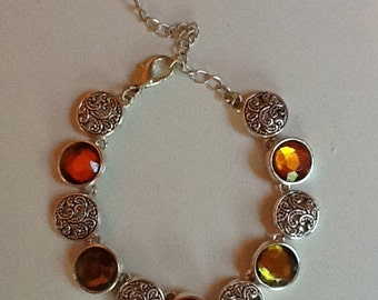 "Lime, Burnt Orange and Silver Bracelet - 5.5"" with 2.5"" Connector Chain"