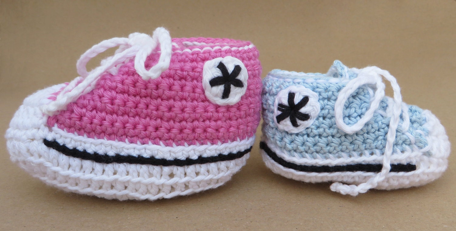 Free Crochet Baby High Tops Pattern : Crocheted baby high-tops bootee pattern