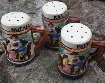 Vintage Ceramic Salt & Pepper Shakers - Salt / Pepper / Nutmeg