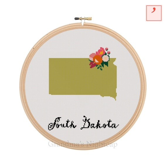 Jan Hagara Cross Stitch Patterns: South Dakota Cross Stitch Pattern Modern Cross Stitch