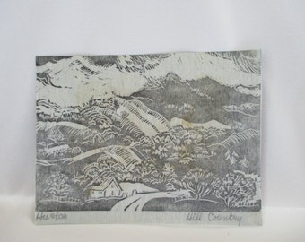 Lithograph of Texas? Hill Country on Blue Paper by Artist Huston Titled 'Hill Country' ~ Project for Beginner Art Conservator