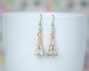 Gold Eiffel Tower Earrings, Eiffel Tower Blue Pink Gold Earrings,  Eiffel Tower Earrings
