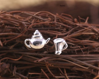 Free shipping: sterling silver teapot, teacup earring