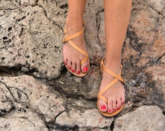 FREE SHIPPING _ Genuine Greek Leather Sandal : Hypatia (Natural Color)