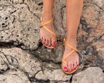 Genuine Greek Leather Sandal -Hypatia -Natural Color