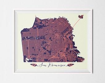 San Francisco Art San Francisco Map San Francisco Print San Francisco Poster San Francisco Printable Digital San Francisco Printable Map art
