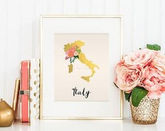 Italy Map Italy Art Italy Poster Italy Print Italy Printable Italy Postcard Printable map art Country Maps