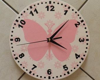 Butterfly  clock. Modern clock. Hall Lobby Boy room Quiet clock. German clockwork. White Blue Black , Housewares, office wall clock