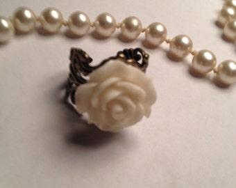 Filigree White Rose Ring
