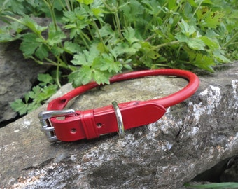 Handmade Rolled Leather Dog Collar