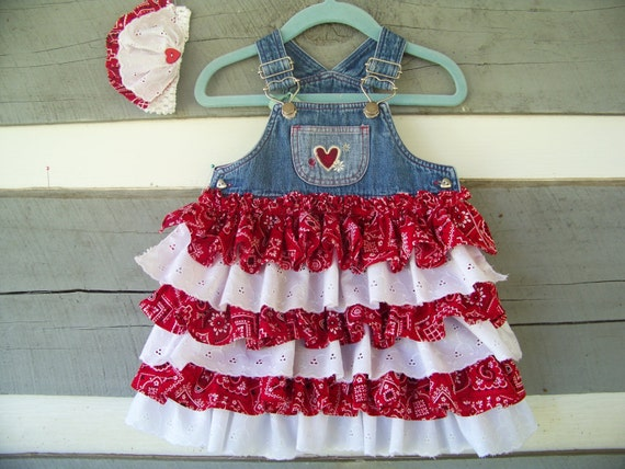 "10% Off, Use Code ""SUMMER"" Ruffled Baby Denim Overall Jumper     Upcycled   6-9 months  Matching Headband"