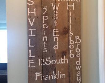 Nashville Neighborhoods X-Large Sign on Salvaged Wood