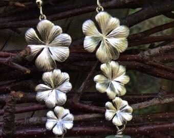 Matte cascading flower earrings w/ chalcedony nugget