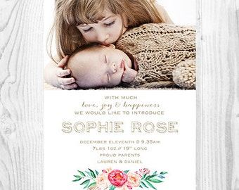 Baby Announcement - Natural Floral Modern Design - Personalised Printable Digital File - White