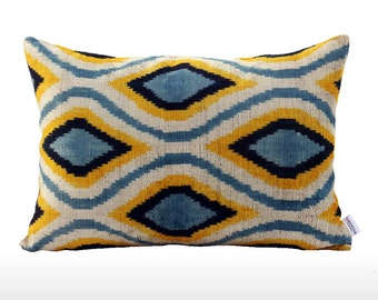 Velvet Ikat Pillow: Aquarium