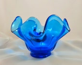 Vintage Blown Glass Cobalt Blue Bowl