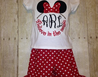 Minnie Mouse Monogrammed Ruffle Short Set