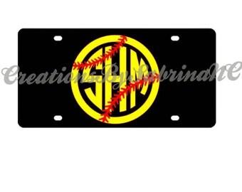 Softball Monogram License Plate