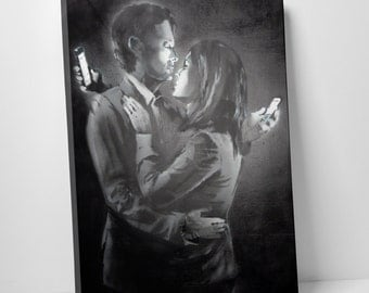 Mobile Lovers by Banksy Gallery Wrapped Canvas Print. BONUS WALL DECAL!