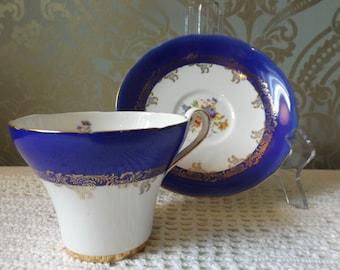 Royal Stafford blue/gold, floral teacup/bone china/fine china