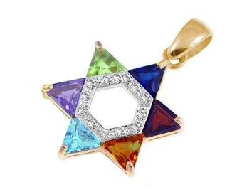 14k Yellow Gold  & Diamond Star of David Necklace: Set with Multicolored Semi Precious Gem Stones and Diamond