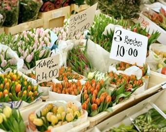 London Photography, tulips, Europe, flower market, Fine Art Print, Travel Photo, Home Decor, yellow, green, orange, pink