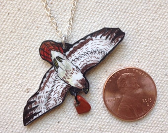 Hand Drawn Flying Red-tailed Hawk (Buteo jamaicensis) Charm Necklace (MADE TO ORDER)
