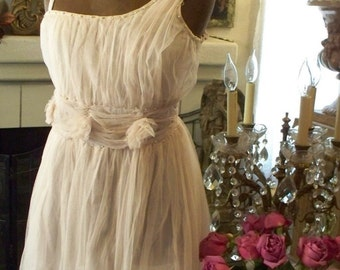 Jeanne d'Arc Living Vintage Style European Princess French,Light Rose or Beige Tulle Dress with Pearl/Rosette Accents,