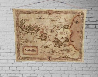 Narnia Map - Lion Witch and the Wardrobe - Custom Geek Fabric Wall Hanging Home Decor Canvas Tapestry  Wall Art Poster
