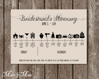 Wedding day timeline card itinerary for guests big day wedding itinerary timeline big day timeline bridesmaid timeline groomsmen timeline digital junglespirit Images