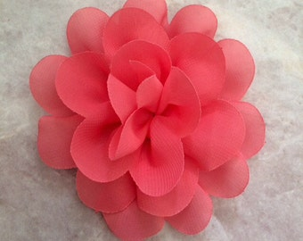 Chiffon flower, coral flower, large flower, coral, flower, lace flower, flower puff, flower supplies, DIY supplies,