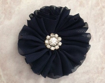 Navy Ballerina flower, ballerina flower, chiffon flower, rhinestone flower, fabric flower, headband flower, supply flower