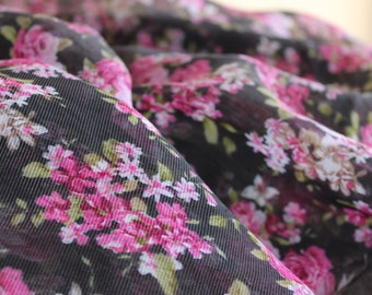 Sheer Rayon Georgette Poly Blend Fabric by the yard, Rayon Yardage, Fabric by the Yard