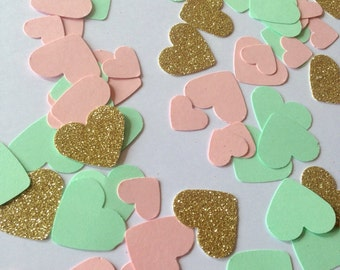 Mint green, pink gold glitter heart confetti - hand made confetti! Table decoration, wedding & party!