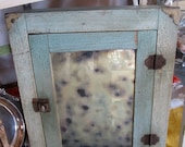 Pale Blue and Green Vintage Wall Chippy Paint Cupboard