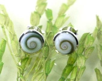 Shivaeye and 925 sterling silver ear studs  --- 4885