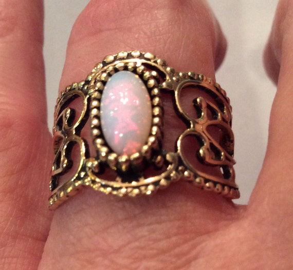 Vintage Sarah Coventry Opal Filigree Band Ring Size 7 1 2
