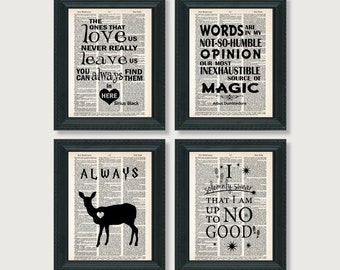 Harry Potter Gift Pack - Four Harry Potter Quotes - Dictionary Art Prints - Value Priced Gift for Harry Potter Fans