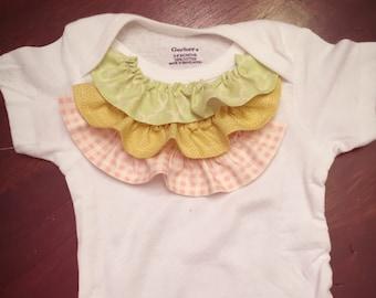 Baby Girl Ruffle Onesie | Pink, Green and Yellow