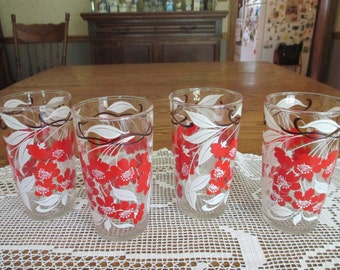 Vintage  Hibiscus Drinking glasses tumblers red flowers white flowers mid century red white kitchen vintage kitchen summer glasses