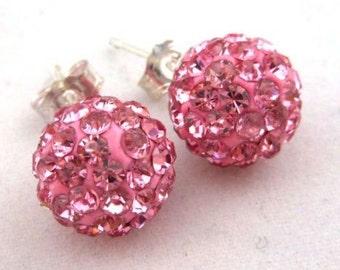 Sweetheart Pink Disco Ball Earrings , spouse , wife , girlfriend , lover , mistress , rhinestones