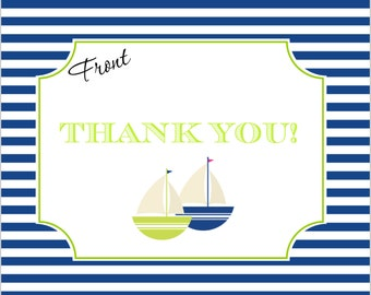 PRINTABLABLE Sailboat Thank You Cards