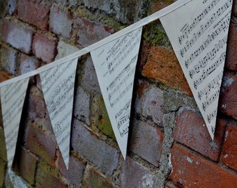 Large Vintage Sheet Music Bunting, Garland