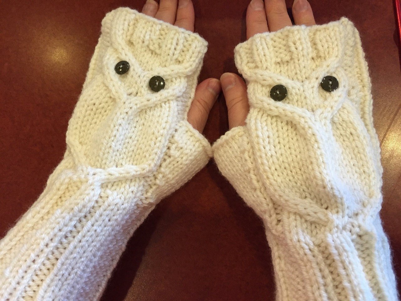 Fingerless Gloves Knitting Pattern Double Pointed Needles : Adult Owl Fingerless Gloves Knitting Pattern by GinasiKnitShop