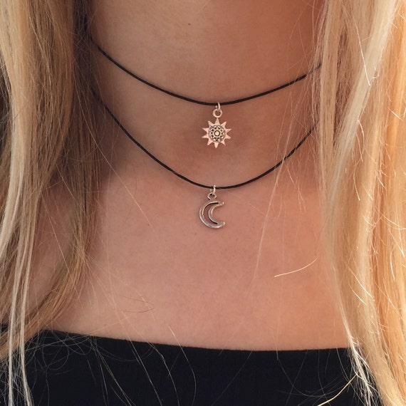 Double choker necklace silver sun and moon charms 90s ...